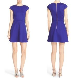 TED BAKER LONDON Blue Cap Sleeve Skater Dress